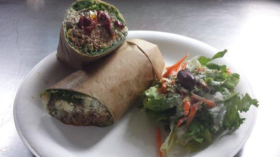 Chef George Of Da Jungle: GROUND LAMB WRAP, Quinoa, Greens, Caramelized Onions, Feta Cheese, Sun-Dried Tomato, Basil Pesto