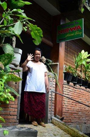 Nirwa Ubud Homestay : Ayu posing in front of her Homestay
