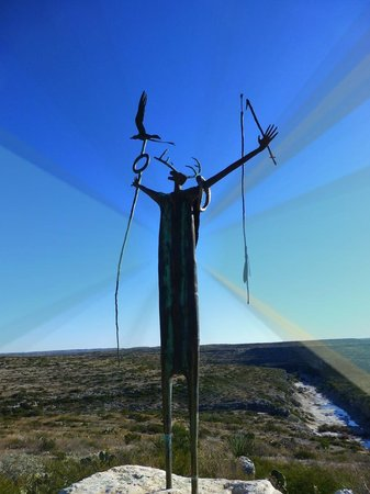 Seminole Canyon State Park and Historic Site: Shaman sculpture overlooks Seminole Canyon.
