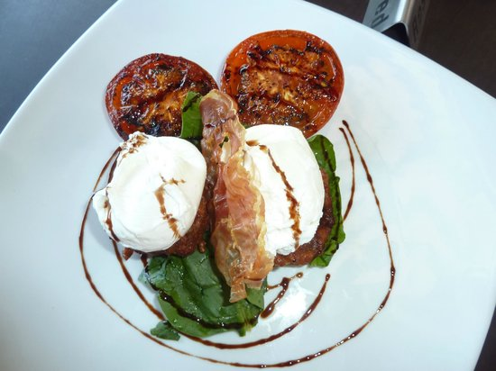 Cafe Moka: Zucchini Fritters with a side of grilled tomato