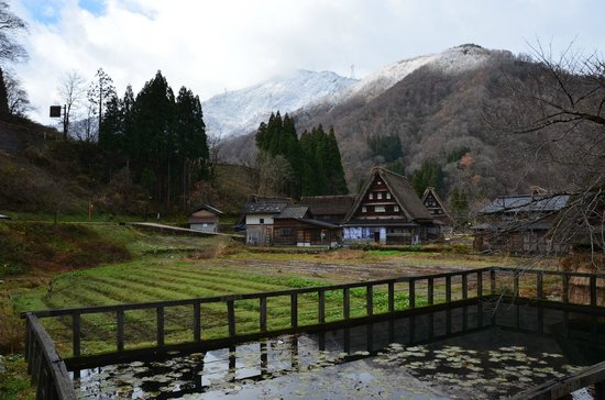 Suganuma Gassho Community: village view with water tank in the front