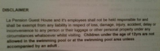 La Pension Guest House: La Pension Disclaimer
