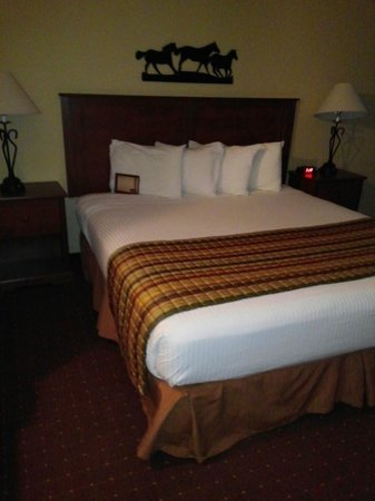 Arbuckle Lodge Gillette: King size bed, WITH pillows!!! Not flat P.O.C!