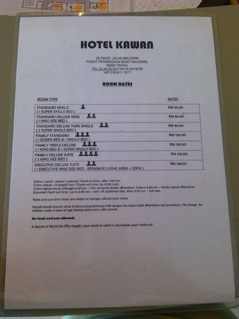 Tapah, Malaysia: publish room rates..as for current