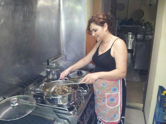 Laura in the kitchen - Picture of Alexandros Tavern, Vouni - TripAdvisor