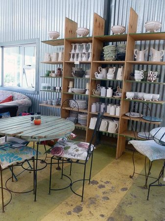 Cafe Bloom: Inside tables and ceramics for sale