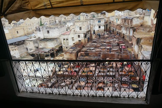 Fes el-Bali : The tannery as viewed from viewing terrace