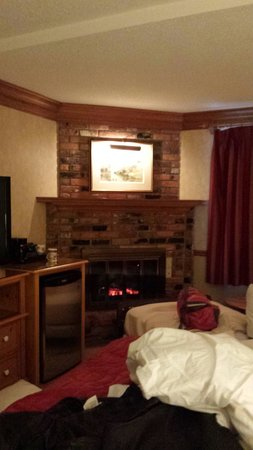 Best Western Plus Parkway Inn & Conference Centre : Room with fake fireplace and cot (free of charge) for the daughter who didn't want to share the