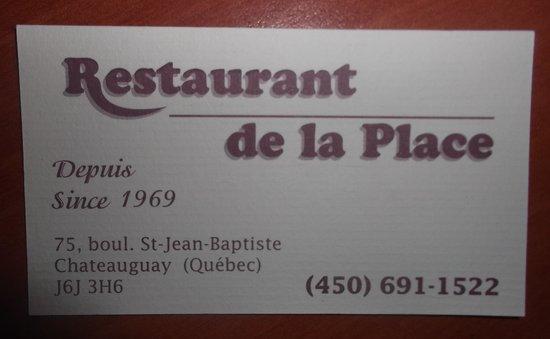 Restaurant De La Place : Carte d'affaire au 9 décembre 2013