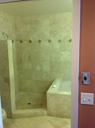 Moonstone Landing: Beautiful bathroom - shower on left and big oval tub on right.