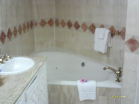 Couples Sans Souci: The Jacuzzi tub in our room