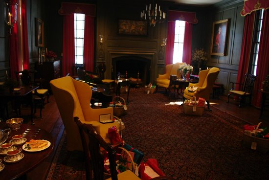 Winterthur Museum, Garden & Library: The family room with gifts arranged around the chairs.