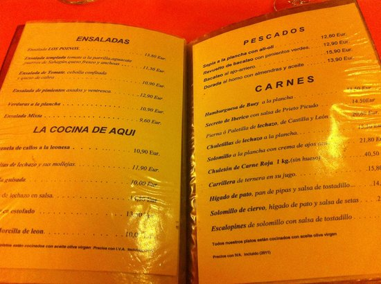 CUEVA LOS POINOS (restaurante): La carta