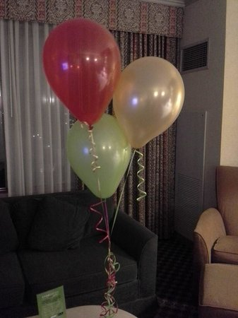 Harrah's Joliet: Balloons and a gift from the Hotel Team in honor of our anniversary