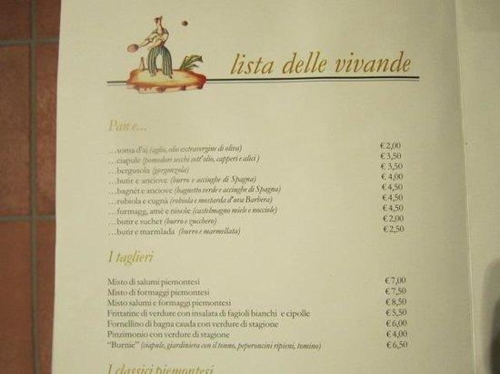 Rocca D'Arazzo, Italy: menù