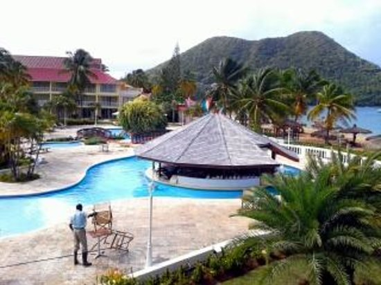 Royal St Lucia Resort and Spa: view from second floor...ocean facing suites