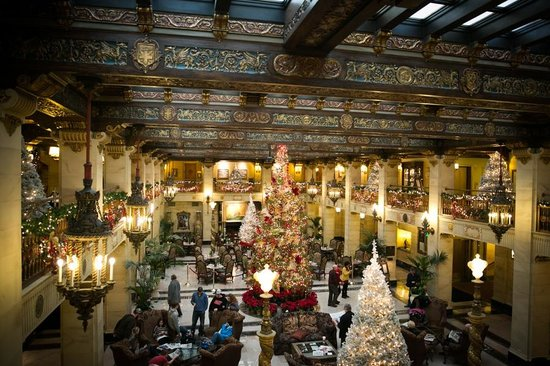 The Historic Davenport, Autograph Collection: The lobby decorated for Christmas