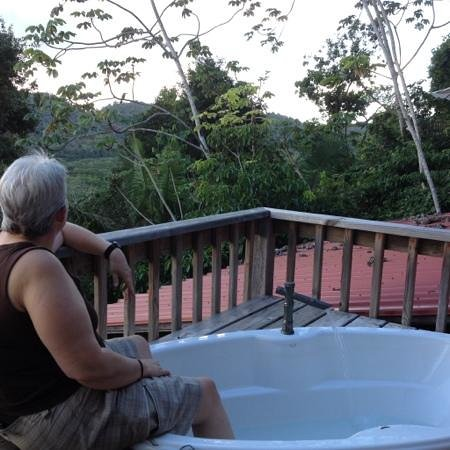 Ian Anderson's Caves Branch Jungle Lodge: soaker tub and view!