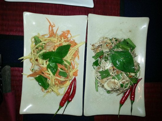The Touich Restaurant Bar: Mango salad, and banana flower salad