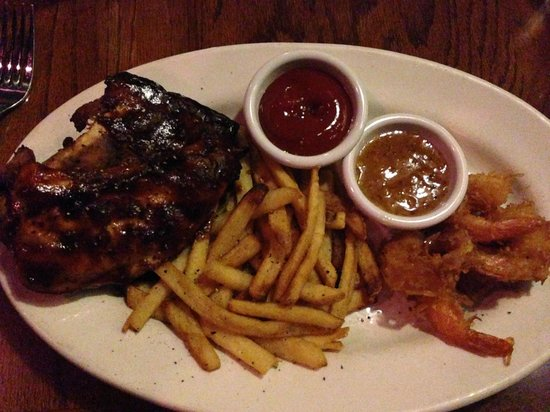 Outback Steakhouse: Chicken, ribs and coconut shrimp mixed grill