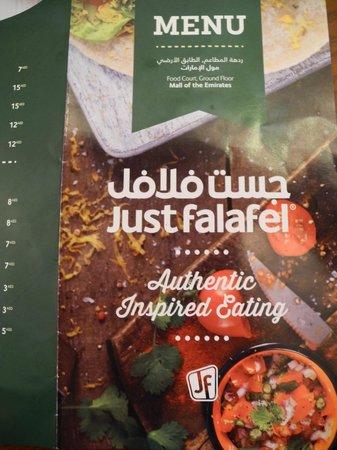 Just Falafel: The menu