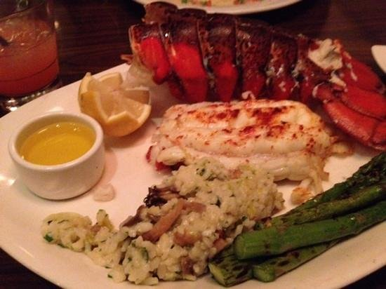 Scott's Seafood Restaurant: The lobster tail dinner, clarified butter, mushroom risotto instead of potatoes and asparagus.