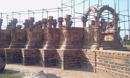 "Chattardi: Restoration work going on at ""Chatadis"" Bhuj.Some of them had worn out with time or damaged duri"