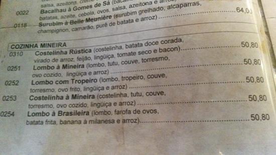 Casa dos Contos: Preços de prato para duas pessoas, dez/2013. Quantidade suficiente para três pessoas.