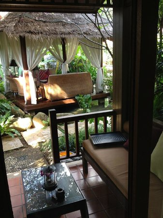 Rocky's Boutique Resort: View from veranda, Room no 6 by the pool