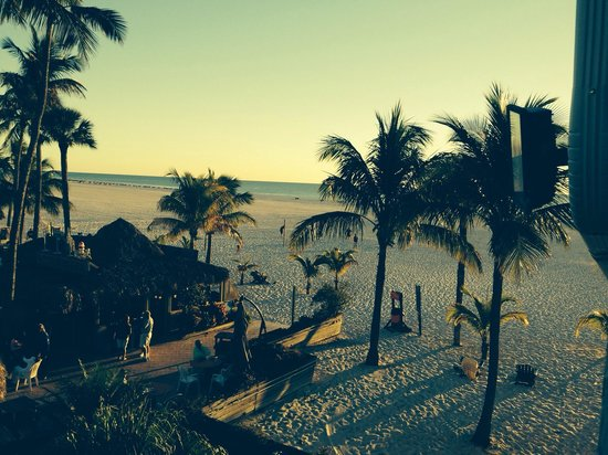 Outrigger Beach Resort : beautiful palm trees and beach at sunset from upper walkway...