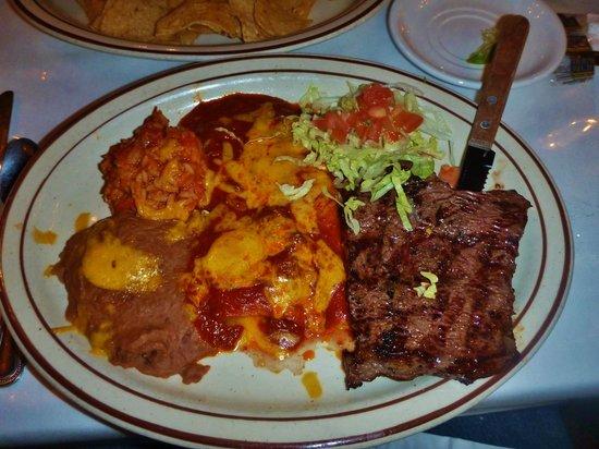 El Rancho Hotel & Motel: Steak and Enchilada Special