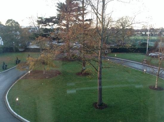 The Lensbury: view out of front of hotel