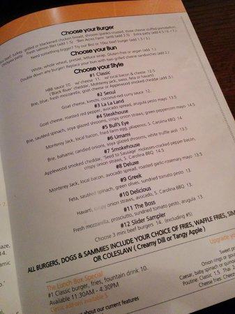 Harper's Burger Bar: Menu - Burgers