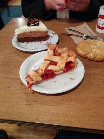 Sleepless Goat Cafe : Rhubarb Pie and Chocolate Peanut Butter Silk Pie