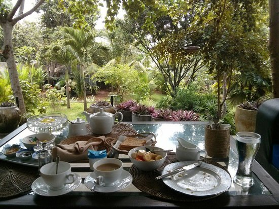 Hibiscus Villa: Custom ordered breakfast in the verandah...