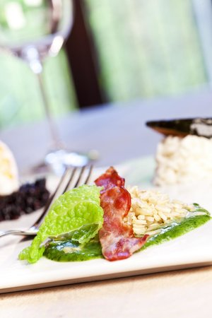 raw rice with bacon and cabbage