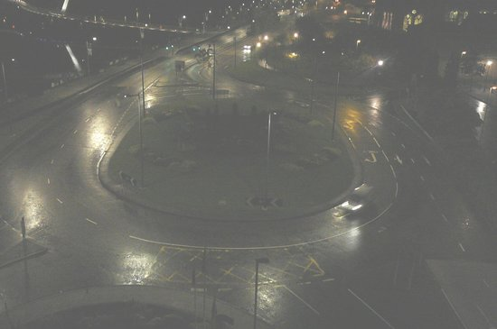 City Hotel : Traffic circle from our window at night
