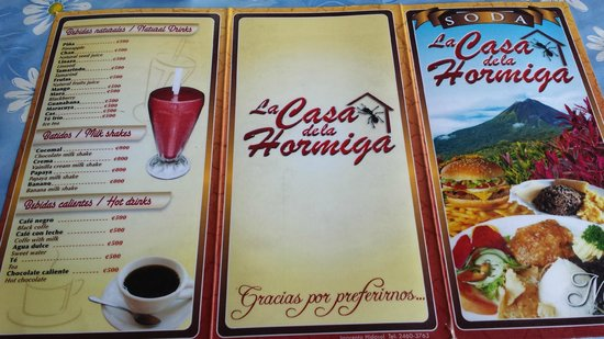 Soda La Hormiga: drink menu