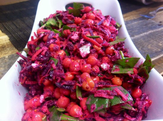 The Wooden Spoon Bistro: Beet root, feta, chickpea daily salad