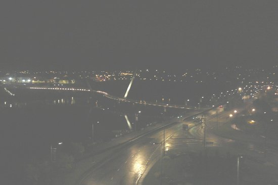 Peace Bridge and traffic circle at night from our hotel