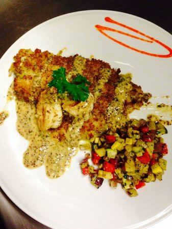"Pomodoro Grill : Grouper ""Dijon"" garlic Parmesan pretzel crusted pan seared accompanied with gulf shrimp finished"