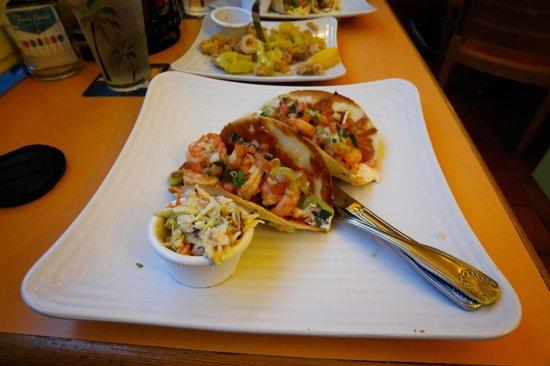 Sunshine Grill: Gourmet shrimp tacos my favorite!
