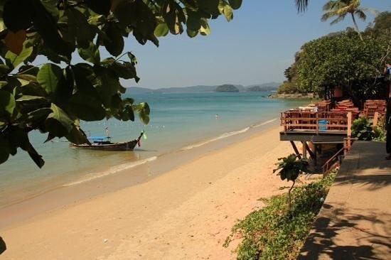 Krabi Resort: waiting for the long tail boat to take us to Ralay beach....Ao Nang beach, looking up to Krabi R
