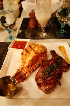 Solana: Grilled lobster tail and steak