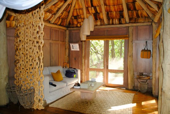 andBeyond Lake Manyara Tree Lodge: from bed area to front entrance and sitting area