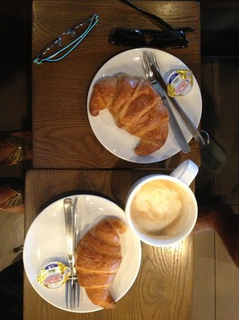 Starbucks: Our breakfast: croissants and cappucino