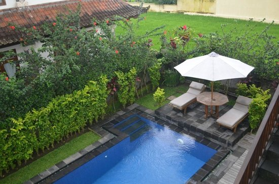 "Villa Agung Khalia: View to plunge pool from Honeymoon ""Sawah"" suite"
