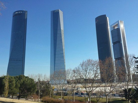 Eurostars Madrid Tower is one of the four towers in Madrid. Hotell is number 2 from the right si