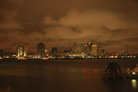 House of the Rising Sun Bed and Breakfast: New Orleans at night from Algiers