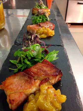 Three Choirs Vineyards Restaurant: Pave of gammon with pineapple and chilli chutney